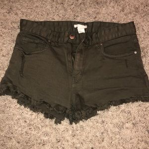 Army green colored shorts